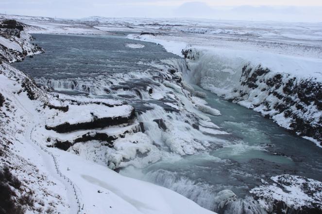 ... Gullfloss waterfall on the Hvita river ...