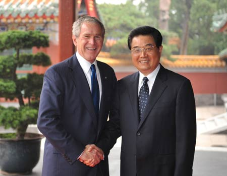 Bush and Hu Jintao 2008