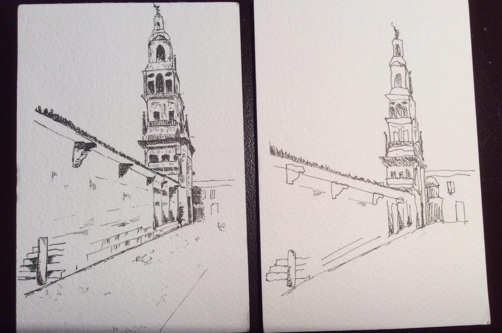 ... 2 sketches of the Tower at The Mosque / Cathedral in Cordoba , one speedy ...